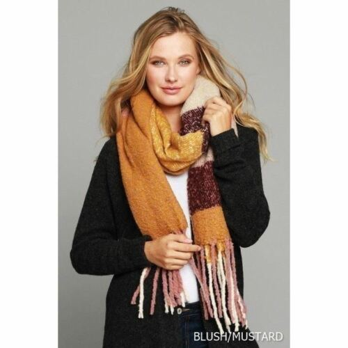 Soft Cuddly Scarf with Fringe in Mustard Mix