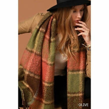 Soft Cuddly Scarf with Fringe in Olive Mix