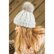 Rib Knit Beanie Hat with Pom