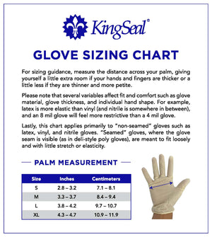 "KingSeal Synthetic ""Stretch Vinyl"" Examination Gloves, Powder Free, 4.0 mil Thickness"