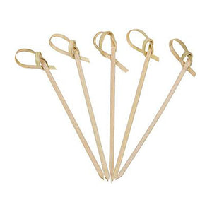 KingSeal Bamboo Wood Flower Knot Picks, Skewers, 3.5 Inches, Perfect for Cocktails and Appetizers