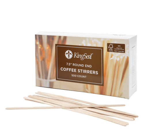 "KingSeal FSC Certified Birch Wood Coffee Stirrers, Round End, 7.5"" (10/500)"