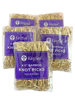 KingSeal Bamboo Wood Flower Knot Picks, Skewers, 4.5 Inches, Perfect for Cocktails and Appetizers