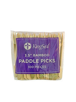 KingSeal Natural Green Bamboo Wood Paddle Picks, Skewers for Appetizers and Cocktails, 3.5 Inches