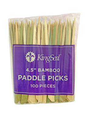 KingSeal Natural Green Bamboo Wood Paddle Picks, Skewers for Appetizers and Cocktails, 4.5 Inches