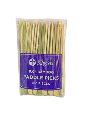 KingSeal Natural Green Bamboo Wood Paddle Picks, Skewers, 6.0 Inches