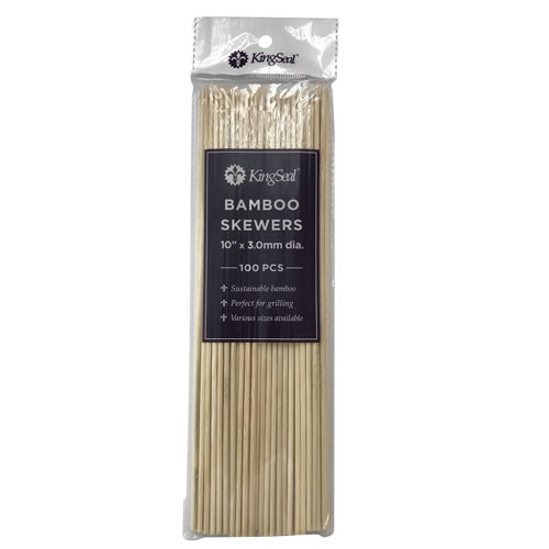 KingSeal Natural Bamboo Wood Skewers - 10 Inch Length