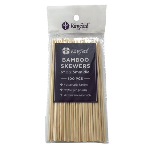 KingSeal Natural Bamboo Wood Skewers - 6 Inch Length