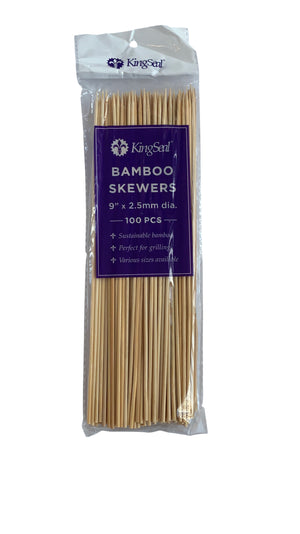 KingSeal Natural Bamboo Wood Skewers - 9 Inch Length