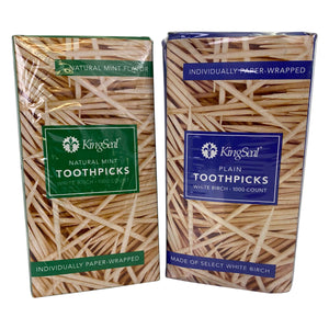 KingSeal Birch Wood Toothpicks, Individually PAPER Wrapped, Plain or Mint Flavor