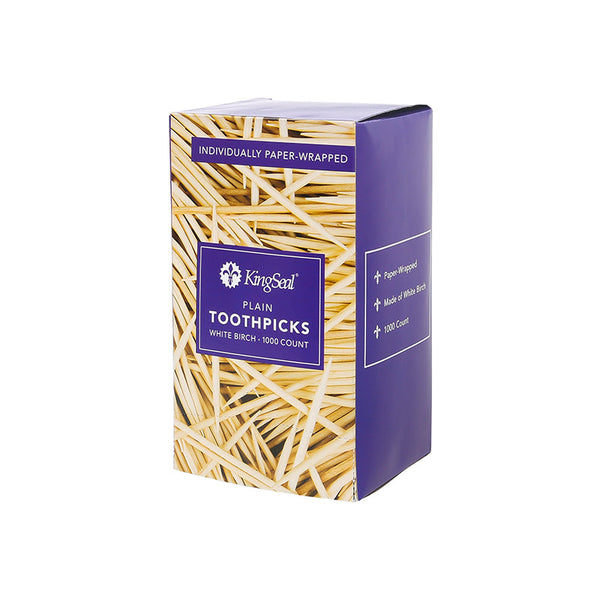 KingSeal 2.5 Inch Individually Paper Wrapped Plain Flavor Toothpicks