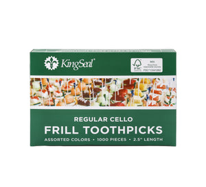 "KingSeal FSC® Certified Natural Birch Sandwich Frill Picks, Assorted Colors - 2.5"" length"