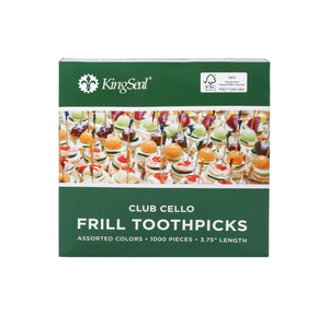 KingSeal FSC® Certified Natural Birch Club Frill Sandwich Toothpicks, Picks, Assorted Colors, 3.75 Inch Length