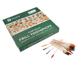KingSeal FSC Certified Sustainably Sourced Natural Birch Club Frill Sandwich Toothpicks, Picks, Assorted Colors, 3.75 Inch Length