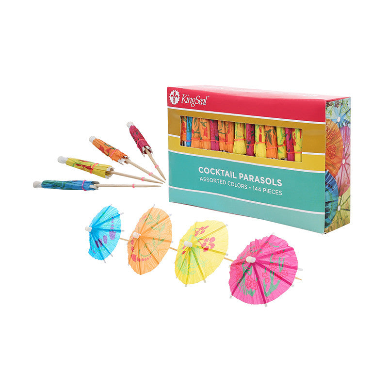KingSeal 4 Inch Umbrella Parasol Cocktail Picks, Cupcake Toppers