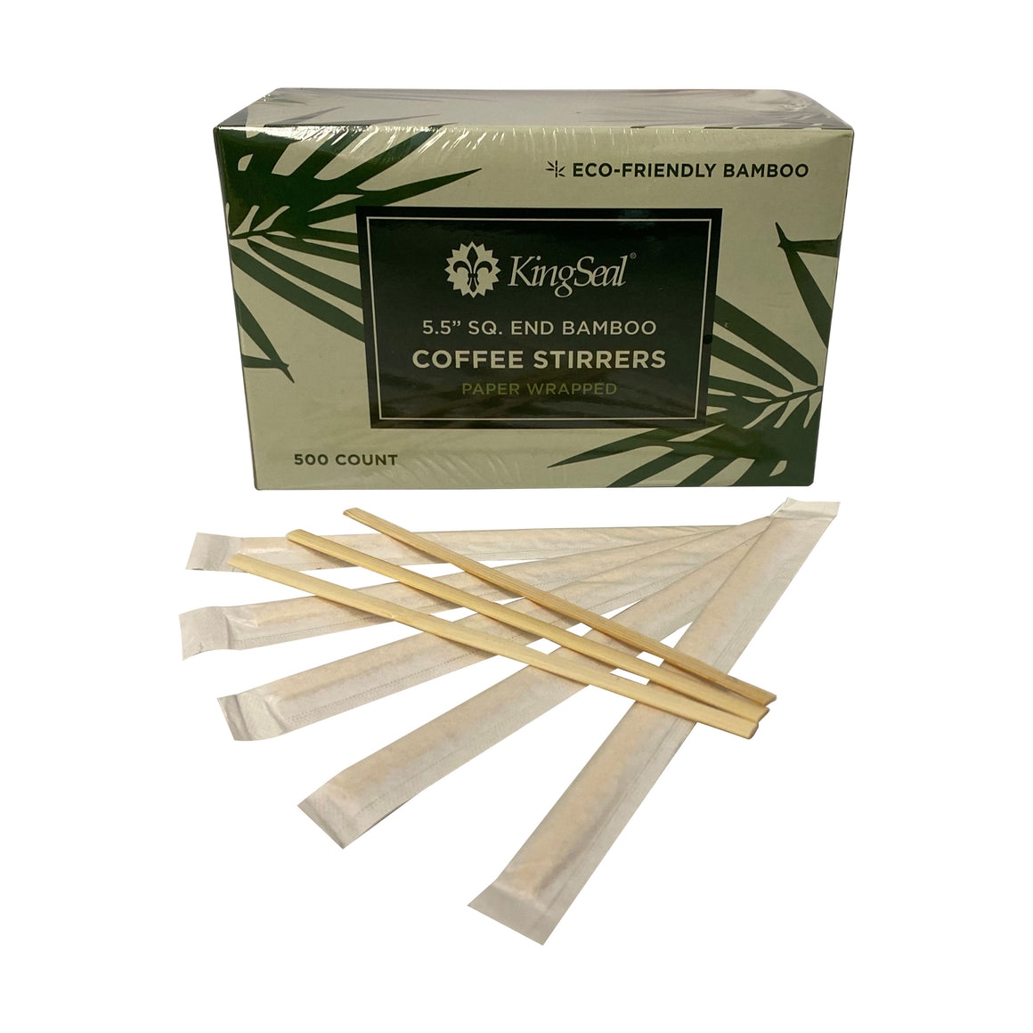 KingSeal Indiv. Paper Wrapped Bamboo Coffee Beverage Stirrers, Square End - 5.5 Inches, 100% Renewable and Biodegradable