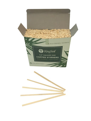 KingSeal Bamboo Coffee Beverage Stirrers, Square End - 5.5 Inches, 100% Renewable and Biodegradable