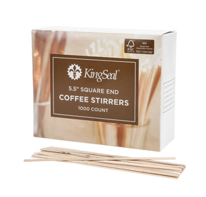 KingSeal FSC® Certified Natural Birch Wood Coffee Beverage Stirrers, Square End - 5.5 Inches