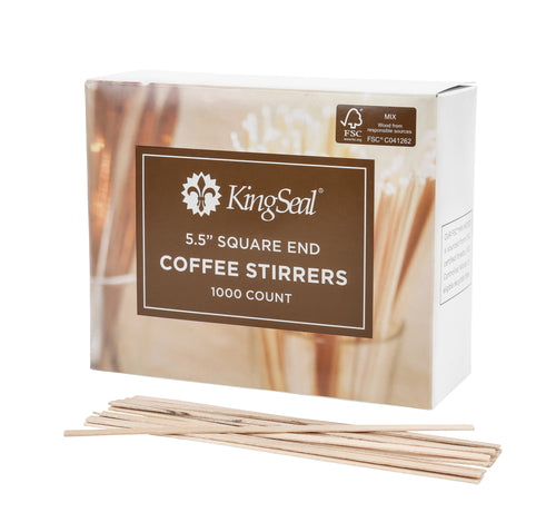 "FSC® Certified Birch Wood Coffee Stirrers, Square End, 5.5"" (10/1000)"