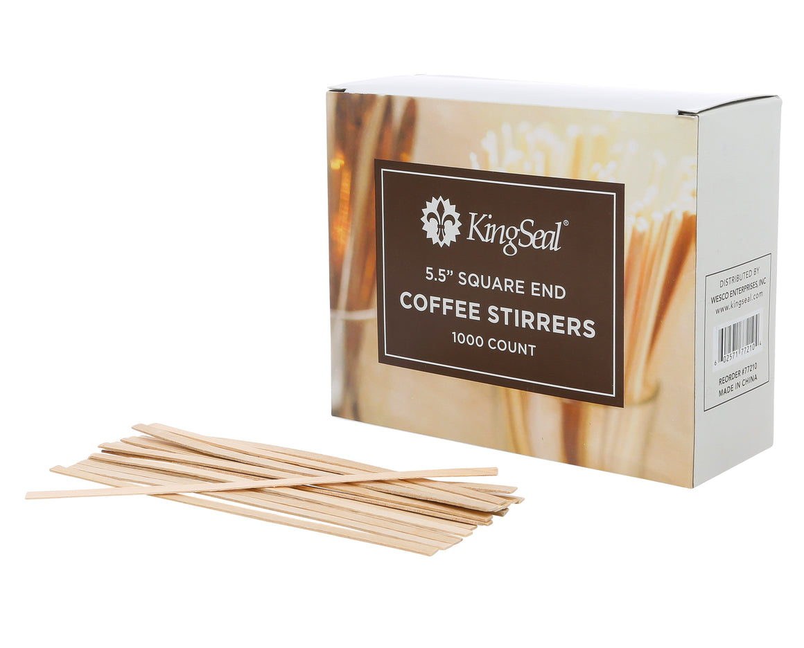 5.5 inch Natural Birch Wood Coffee Stirrers, Square End