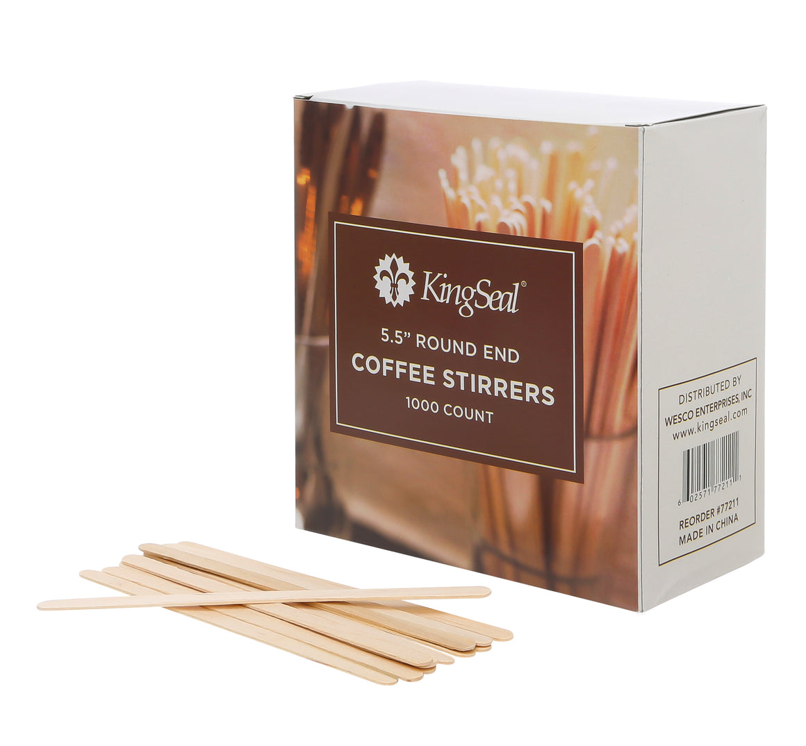 KingSeal Natural Birch Wood Coffee Beverage Stirrers, Round End - 5.5 Inches