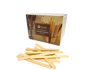 KingSeal Natural Birch Wood Craft Sticks, Coffee Stirrers, Popsicle Sticks, Waxing Sticks, 4.5 Inch Length, Round Ends
