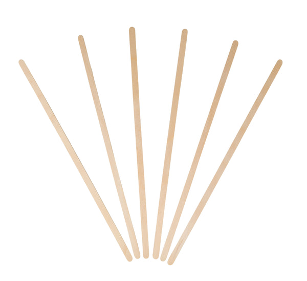 7.5 inch Wood Coffee Stirrers, Round End (10/500)