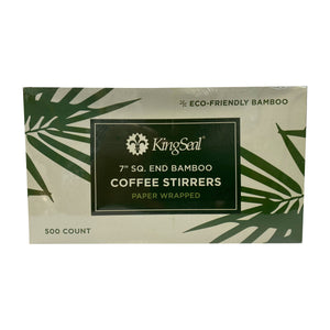 KingSeal Indiv. Paper Wrapped Bamboo Coffee Beverage Stirrers, Square End - 7.0 Inches, 100% Renewable and Biodegradable