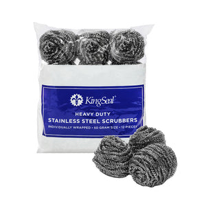 KingSeal Stainless Steel Scrubbers, Scrub Pads, Heavy Duty, 50 Gram Weight, Individually Wrapped -  12 scrubbers per pack