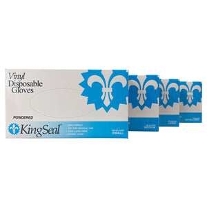 KingSeal Vinyl General Purpose Gloves, Powdered, 4 mil, Clear, Food-safe