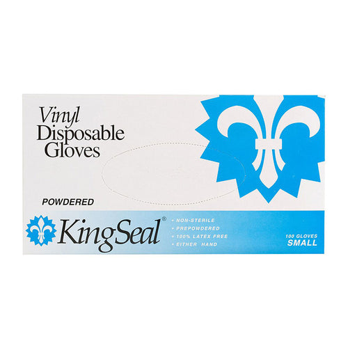 KingSeal Vinyl Disposable Gloves, Powdered, 4 mil, Clear, Medium, 100/box