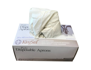 KingSeal Disposable Poly Aprons, 28 x 46, 0.8 mil Thickness and Heavier Duty 1.75 mil Thickness