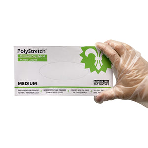KingSeal PolyStretch TPE Poly Hybrid Disposable Gloves, Powder-Free Vinyl Glove Substitute