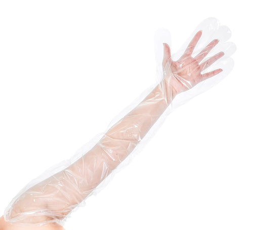 Poly Disposable Shoulder Length Gloves, Clear (100 pack)