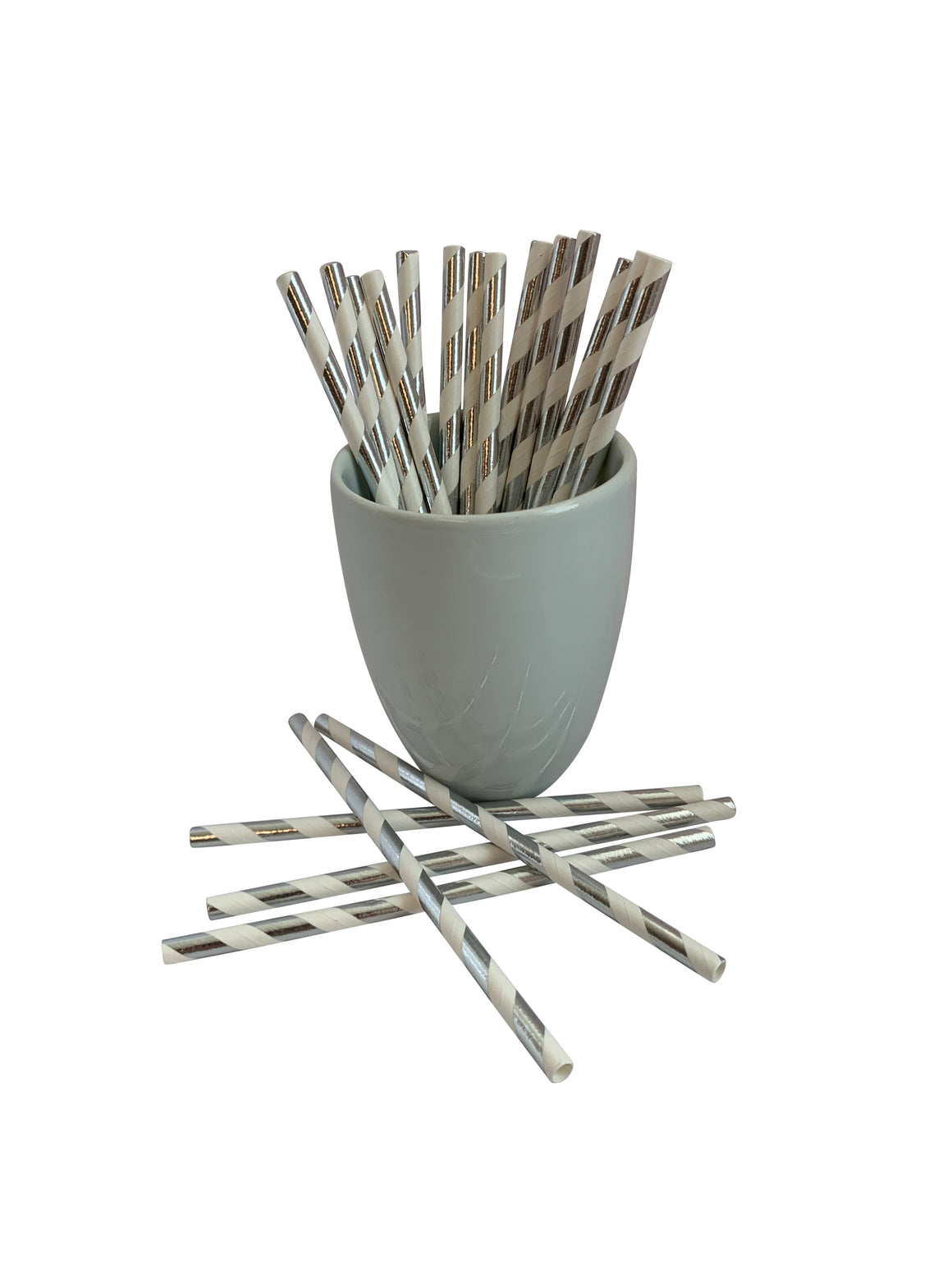 "Kingseal FSC® Certified Paper Cocktail Straws, Unwrapped, 5.75 Inch, Silver Stripe, ""Jumbo"" Size, Bulk Pack"