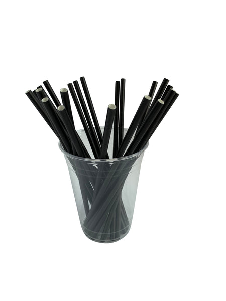 "Paper Drinking Straws, ""Jumbo"" Size, 7.75"", Unwrapped, Black (600)"