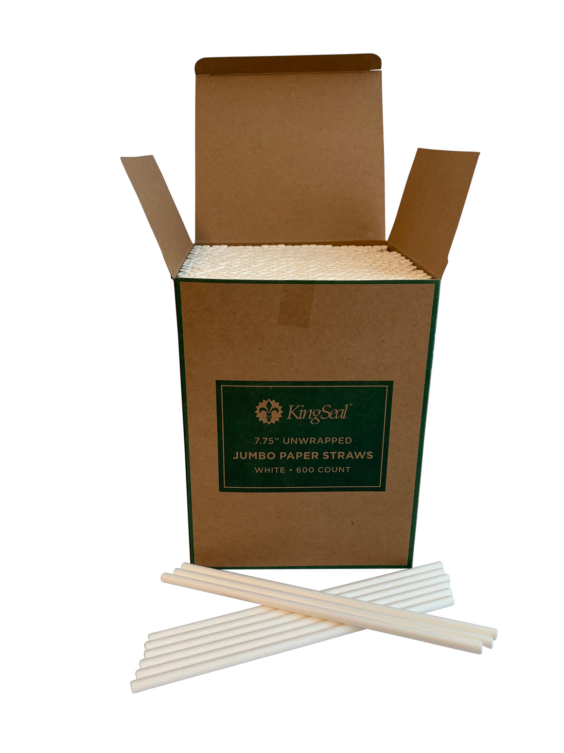 "Kingseal Disposable Paper Drinking Straws, White, Unwrapped, 7.75 inch Length, ""Jumbo"" Size, Bulk Pack"