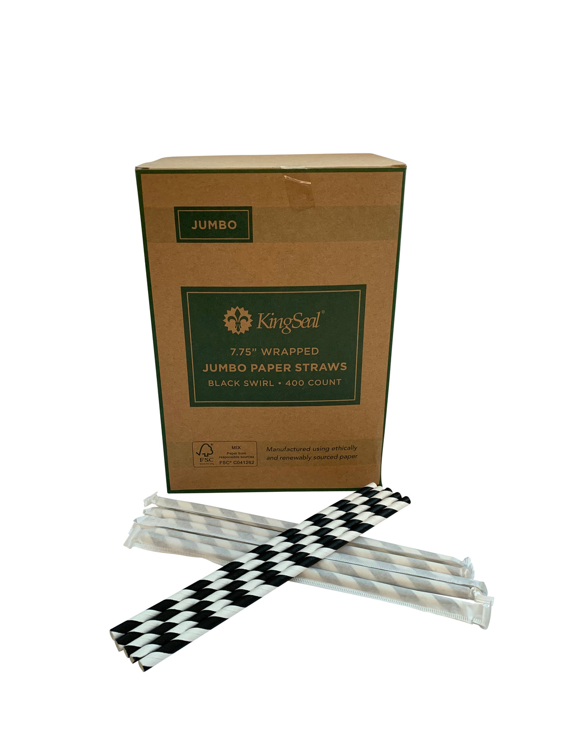 "Kingseal FSC® Paper Drinking Straws, Black Stripe, Unwrapped, 7.75 inch Length, ""Jumbo"" Size, Bulk Pack"