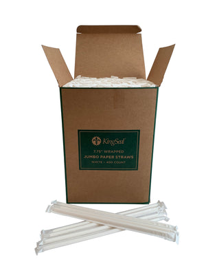 "Kingseal Disposable Paper Drinking Straws, Paper Wrapped, White, 7.75 Inch Length, ""Jumbo"" Size, Bulk Pack"
