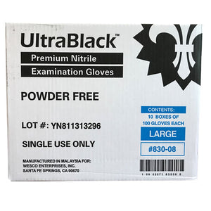 KingSeal UltraBlack® Nitrile Medical Grade Gloves, Black, Latex Free, Powder Free, 4 mil