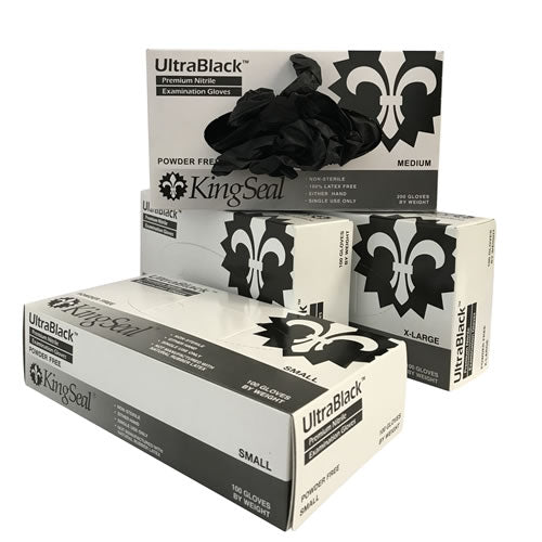 Nitrile Exam Gloves, Black, Powder Free (10/100)