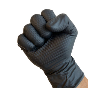 UltraBlack PRO-3D Black Nitrile Gloves, 7 mil, Diamond Textured, Extra Durable (10/100)