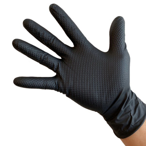 UltraBlack PRO-3D Black Nitrile Gloves, 7 mil, Diamond Textured, Extra Durable