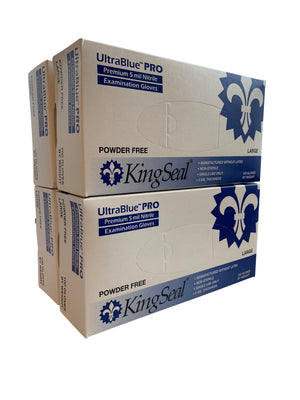 KingSeal UltraBlue®PRO Nitrile Exam Gloves, Cobalt Blue, 5 mil, Powder Free, Latex Free