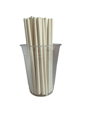 "Kingseal Disposable Paper Drinking Straws, Unwrapped, White, 7.75 inch Length, ""Giant"" Size, Bulk Pack"