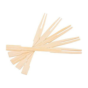 KingSeal 3.5 Inch Natural Bamboo Wood Two-Prong Cocktail Forks