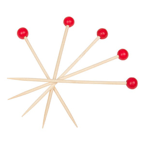 KingSeal Bamboo Wood Cocktail Picks, 4.5 Inches, Red Ball Head, Perfect for Appetizers and Cocktails