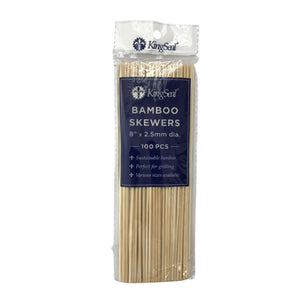 KingSeal Natural Bamboo Wood Skewers - 8 Inch Length
