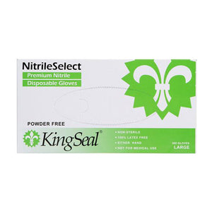 KingSeal White Powder-Free Nitrile Gloves, Premium Soft, Stretchy Fit, Size Large (200 Gloves per Box)