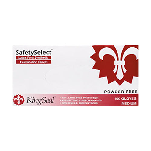 KingSeal 100% Latex Free Synthetic Stretch Vinyl Medical Grade Gloves, Powder Free, 4.5 mil thickness, Medium - 1 Box of 100 gloves